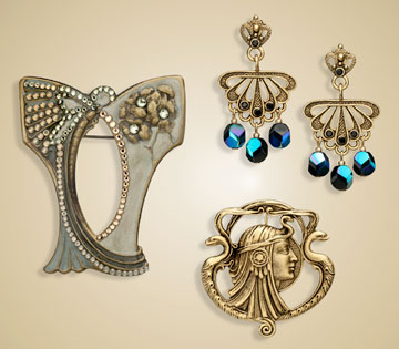 Nouveau Earrings and Brooch