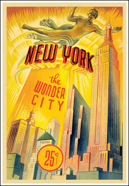 things deco new york wonder city poster. Black Bedroom Furniture Sets. Home Design Ideas